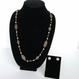 Gold-tone Filagree & Pearl Necklace